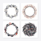 Cute hipster wreaths. Simple drawings of plants Royalty Free Stock Image