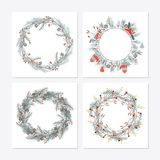 Cute hipster wreaths. Simple drawings of plants Stock Photos