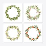 Cute hipster wreaths. Simple drawings of plants vector illustration