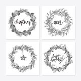 Cute hipster wreaths. Elegant calligraphic lettering phrases with wreaths. big collection of hand written christmas phrases and quotes Royalty Free Stock Photo