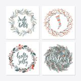 Cute hipster wreaths. Elegant calligraphic lettering phrases with wreaths. big collection of hand written christmas phrases and quotes Royalty Free Stock Images