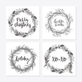 Cute hipster wreaths. Elegant calligraphic lettering phrases with wreaths. big collection of hand written christmas phrases and quotes Stock Photo