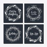 Cute hipster wreaths. Elegant calligraphic lettering phrases with wreaths. big collection of hand written christmas phrases and quotes stock illustration