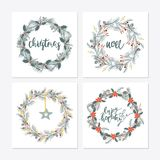 Cute hipster wreaths. Elegant calligraphic lettering phrases with wreaths. big collection of hand written christmas phrases and quotes Stock Images