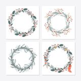 Cute hipster wreaths. Simple drawings of plants Stock Images