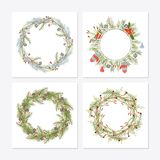 Cute hipster wreaths. Simple drawings of plants stock illustration