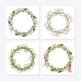 Cute hipster wreaths. Simple drawings of plants Stock Photography