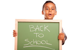 Cute Hispanic Boy Holding Chalkboard with Back to Royalty Free Stock Photos