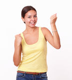 Cute hispanic girl celebrating her victory Stock Photos