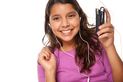 Cute Hispanic Girl Listening and Dancing to Music Stock Photos