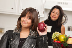 Cute Hispanic Girl Ready for School with Mom Stock Photography