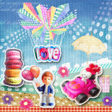 Cute holiday card. Macaroons, figurine of boy with baloons, white heart riding in red car with a bouquet and flowers. Stock Photo