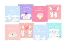 Cute, Holiday cards, cartoon collection notes, stickers, celebration, invitations Lovely characters minimal vector illustration royalty free illustration