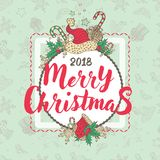 Christmas illustrated holiday card Royalty Free Stock Photo