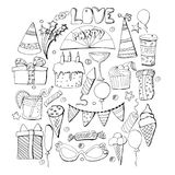 Cute holiday illustration. Vector hand drawn set. Cakes, cupcake. S, balloons, fireworks, cocktails, gift box, ice cream, candies, lollipops. Decorative elements Stock Image