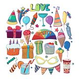 Cute holiday illustration. Vector hand drawn set. Cakes, cupcake. S, balloons, fireworks, cocktails, gift box, ice cream, candies, lollipops. Decorative elements Royalty Free Stock Photography