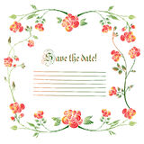Cute holiday invitation card with rose ornament background Royalty Free Stock Images
