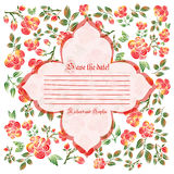 Cute holiday invitation card with rose ornament background Stock Image