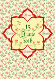 Cute holiday invitation card with rose ornament background Royalty Free Stock Image