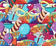 Cute holiday seamless background. Hand drawn pat. Cute brightly holiday seamless background. Hand drawn pattern with stars, baloons, fireworks, candies royalty free illustration