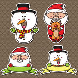 Cute holiday set of winter characters stickers. Stock Photos