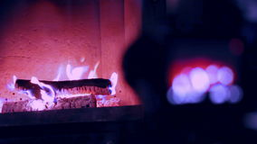 Cute home fireplace video shooting process with DSLR camera Instagram stock video