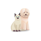Cute home pets. Cartoon cat and dog. Best friends illustration Royalty Free Stock Photos