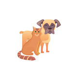Cute home pets. Cartoon cat and dog. Best friends illustration Royalty Free Stock Photo