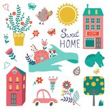 Cute home sweet home collection Stock Photography