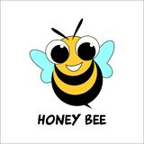 Cute honey bee logo design royalty free illustration