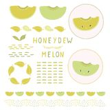 Cute honeydew melon vector illustration clipart set. Hand drawn kawaii watermelon royalty free illustration