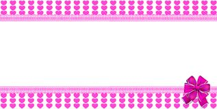 Cute horizontal template with pink striped hearts wrapped with b. Cute horizontal template with pink striped hearts pattern, space for text wrapped with big Stock Photos