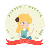 Cute horoscope - aries. Cute horoscope. Zodiac signs. Aries. Series of cartoon zodiac characters. Horoscope for kids or teens, template for card, invitation Stock Photography