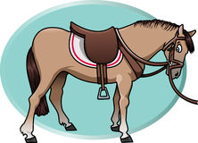 Cute horse. Cartoon-style illustration of a cute brown horse with saddle and reins. An aquamarine oval shape on the background Royalty Free Stock Photos