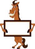 Cute horse cartoon with blank sign Royalty Free Stock Photo
