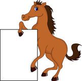 Cute horse cartoon with blank sign Stock Photography