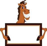 Cute horse cartoon with blank sign. Illustration of Cute horse cartoon with blank sign Royalty Free Stock Images