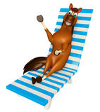 Cute Horse cartoon character with beach chair Stock Images