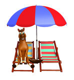 Cute Horse cartoon character with beach chair. 3d rendered illustration of Horse cartoon character with beach chair Stock Photo