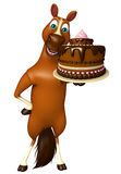 Cute Horse cartoon character with cake. 3d rendered illustration of Horse cartoon character with cake Stock Image