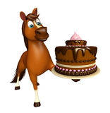 Cute Horse cartoon character with cake. 3d rendered illustration of Horse cartoon character with cake Royalty Free Stock Photos