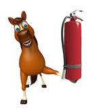 Cute Horse cartoon character  with fire  extinguishing Stock Image