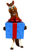 Cute Horse cartoon character with giftbox. 3d rendered illustration of Horse cartoon character with giftbox Stock Photo