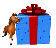 Cute Horse cartoon character with giftbox. 3d rendered illustration of Horse cartoon character with giftbox Royalty Free Stock Images