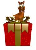 Cute Horse cartoon character with giftbox Stock Photos