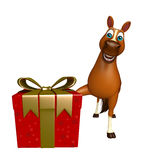 Cute Horse cartoon character with giftbox. 3d rendered illustration of Horse cartoon character with giftbox Royalty Free Stock Photo