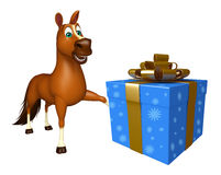 Cute Horse cartoon character with giftbox. 3d rendered illustration of Horse cartoon character with giftbox Stock Photos