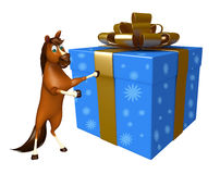 Cute Horse cartoon character with giftbox. 3d rendered illustration of Horse cartoon character with giftbox Stock Images