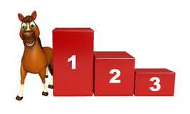 Cute Horse cartoon character with level. 3d rendered illustration of Horse cartoon character with level Royalty Free Stock Photo