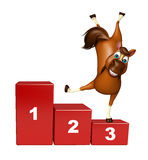 Cute Horse cartoon character with level. 3d rendered illustration of Horse cartoon character with level Royalty Free Stock Images